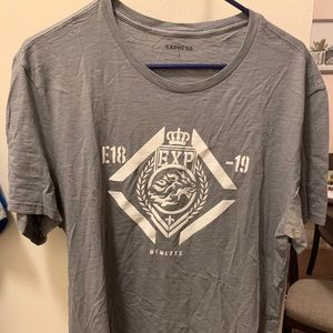 Express Men Grey Graphic Tee Large L